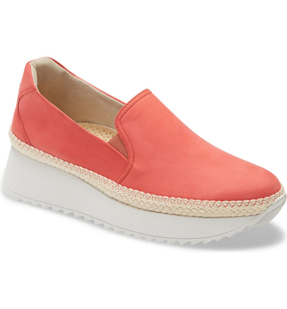 Favorite cute, comfy shoes on sale at Nordstrom right now:  Paul Green Slip-On Platform Sneaker in a gorgeous coral