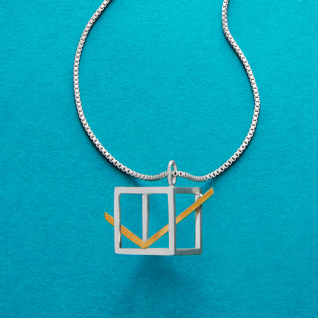 "Jewelry supporting voters rights orgs: This cool Ballot box necklace in sterling silver and gold plate is better than an ""I voted"" sticker!"