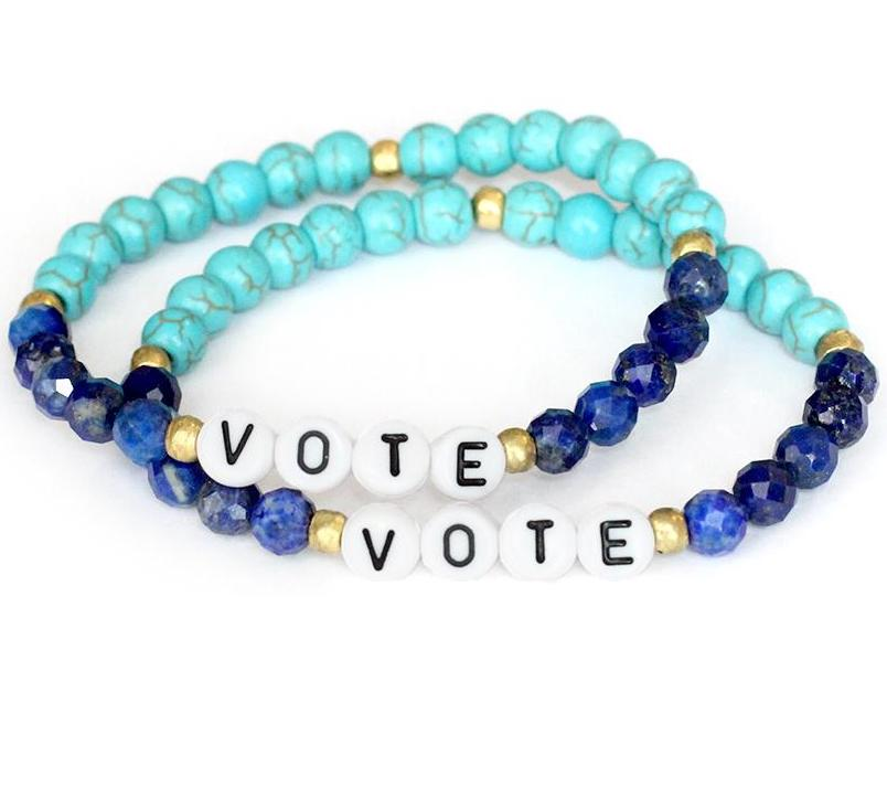 Jewelry supporting voters rights orgs: Blue beaded VOTE bracelets from Bird & Stone donate 10% to fabulous, impactful voting orgs