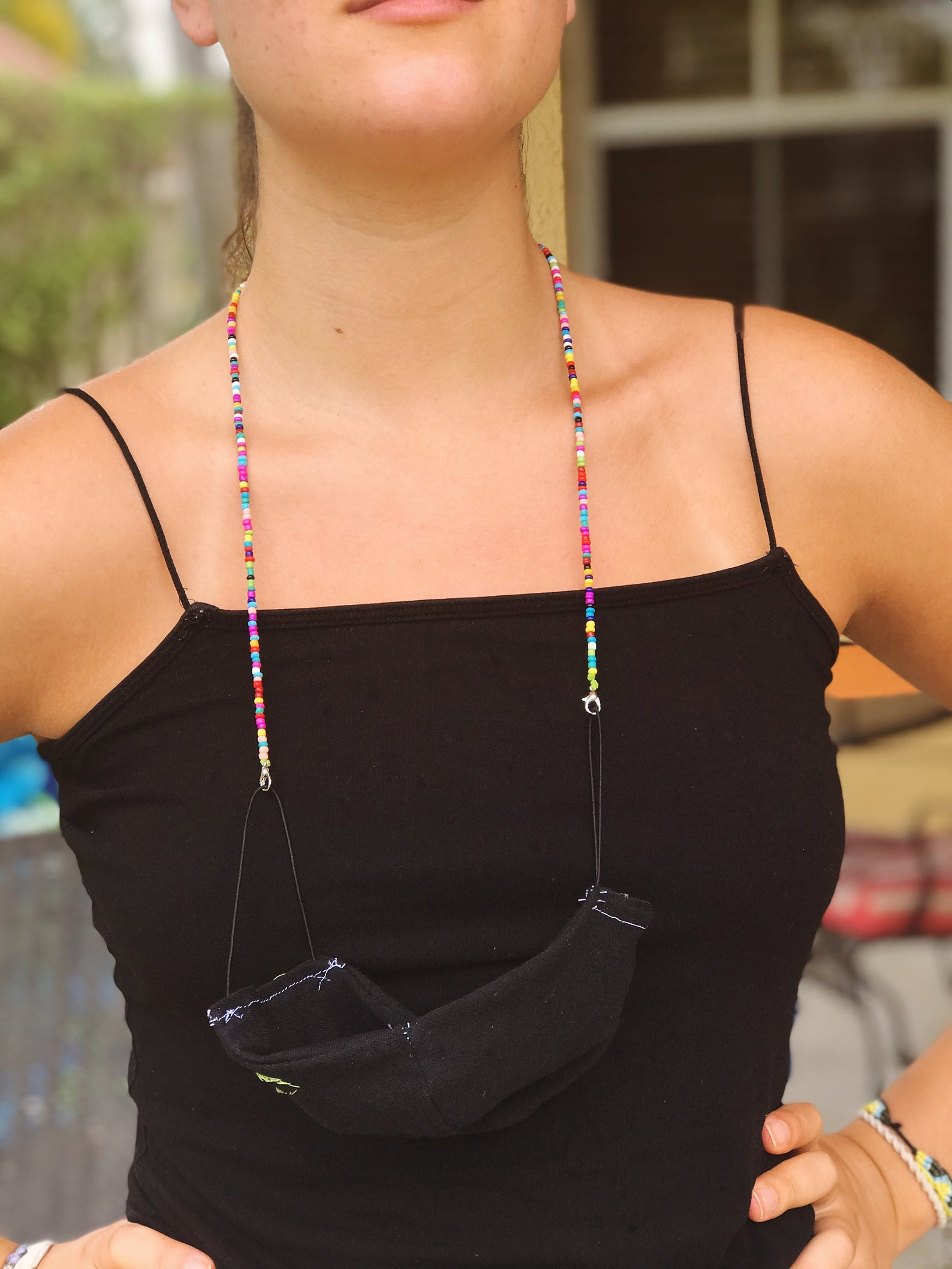 Cool face mask accessories for kids: A beaded mask lanyard that doubles as a necklace or bracelet