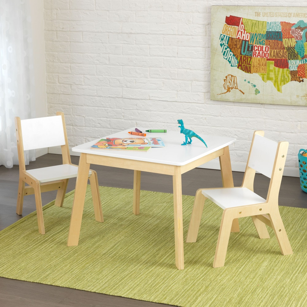 Considerations when setting up a home learning space for kids: Younger kids may not even need a desk. This modern kids art table may be just what they need