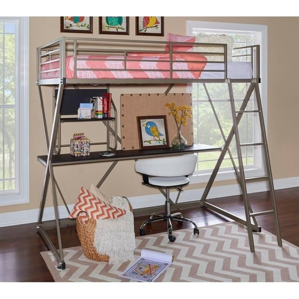 Loft bed with desk underneath: great solution to create a child's study space in a smaller home. This one from Overstock (sponsor)