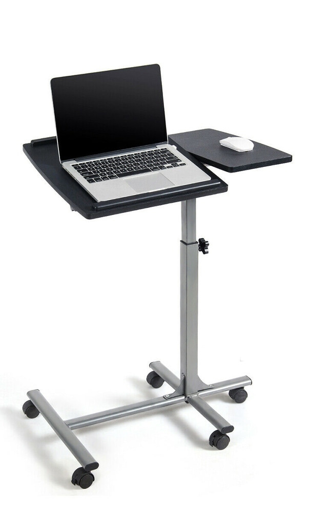 Small space solution for study spaces: Combine a smaller desk with a rolling laptop desk that can be moved away at the end of the day