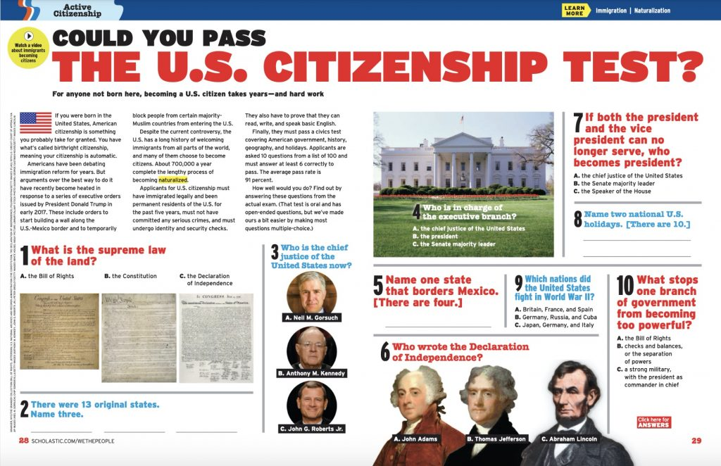 Could you pass the US citizenship test? This sample test is among the great election content for kids on the Scholastic site