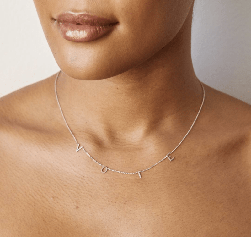 What NOT to wear to the polls this election year: Generic, non-partisan messages to vote are safe to wear. | Vote necklace by Chari Cuthbert