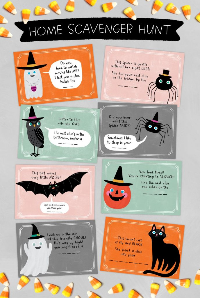 Trick or treat alternatives: At home Halloween scavenger hunt cards printable via Caravan Shoppe