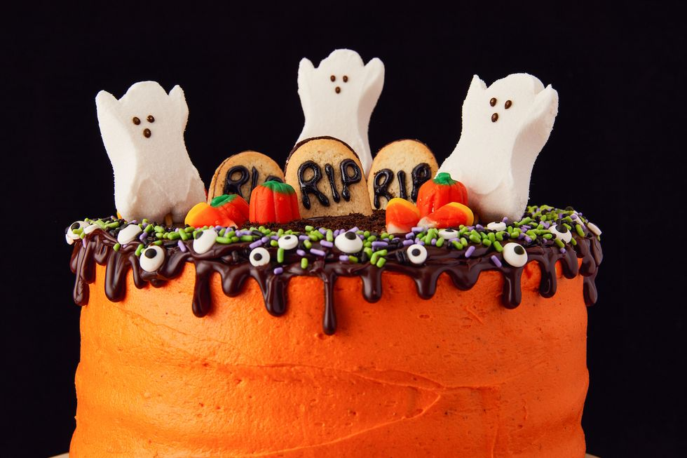"Halloween cake via delish: Host your own Halloween ""Nailed It"" competition as a trick or treat alternative"