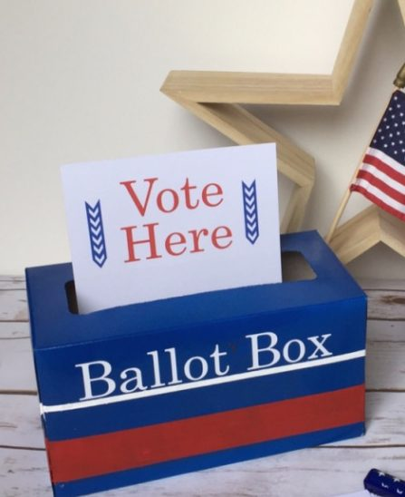 DIY a ballot box for a kids' voting activity using this tutorial from Motherhood on a Dime