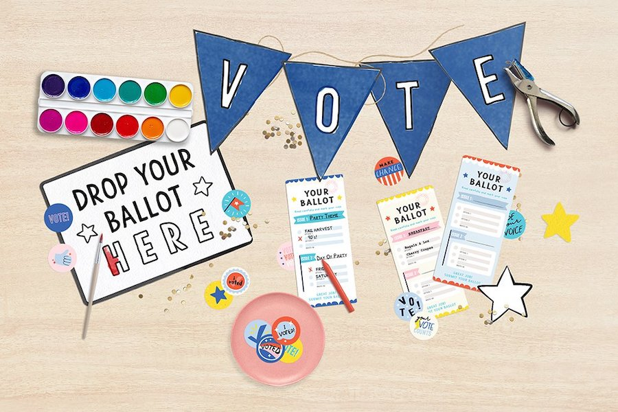Voting activities for elementary students:  9 fun, meaningful, and non-partisan ideas to get young kids involved.
