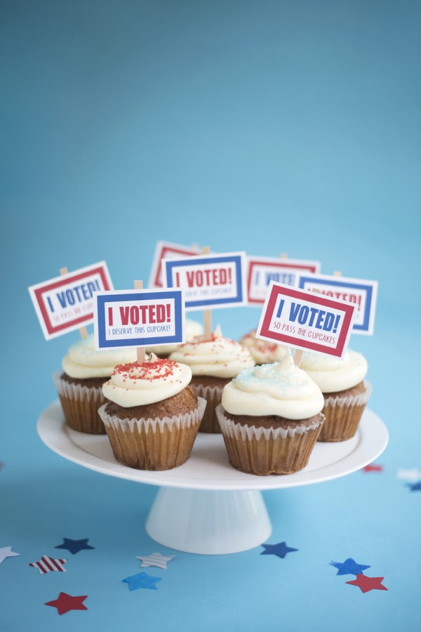 DIY I Voted cupcake toppers for kids from Oh Happy Day