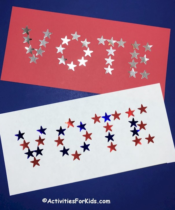 Make VOTE star sticker banners using this idea from ActivitesForKids