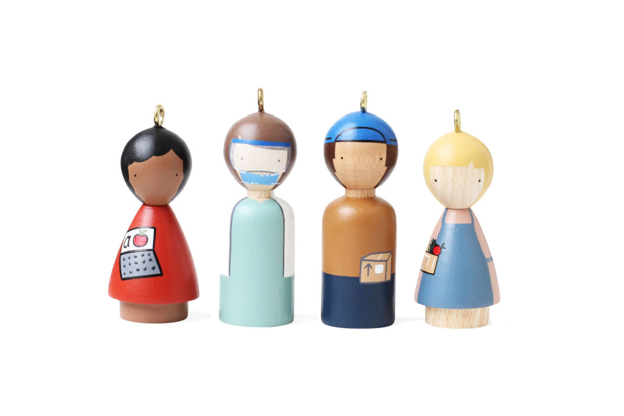 This handmade ornament set celebrates the heroes of 2020
