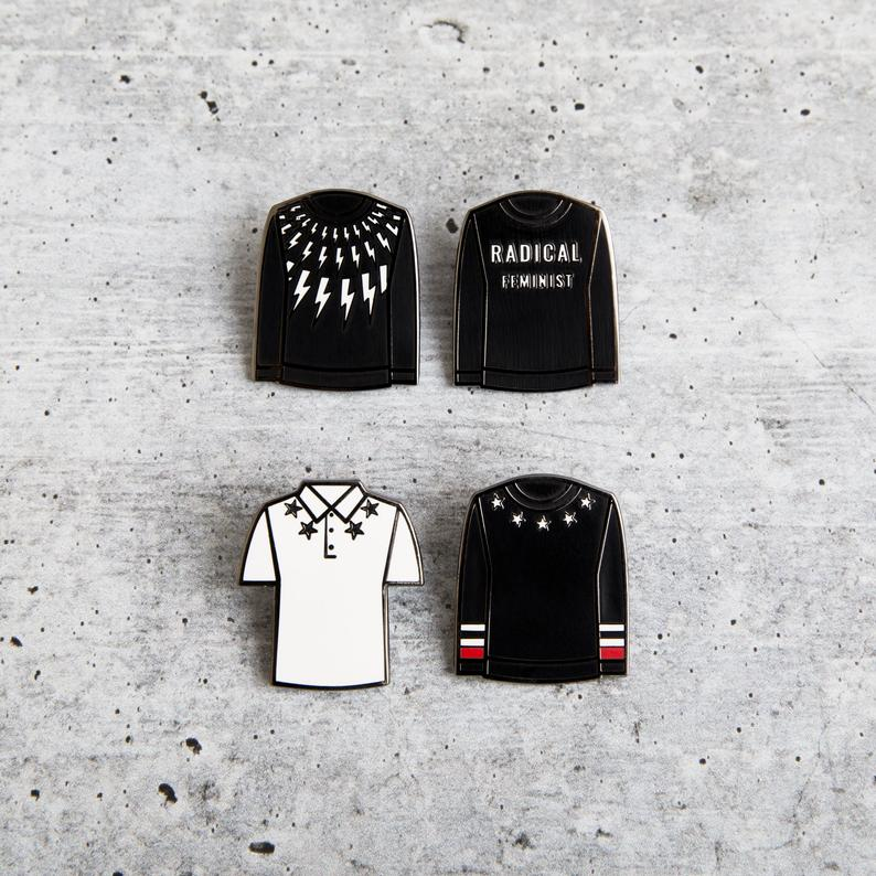 Four detailed pins of David Rose's sweaters make an awesome Schitt's Creek gift