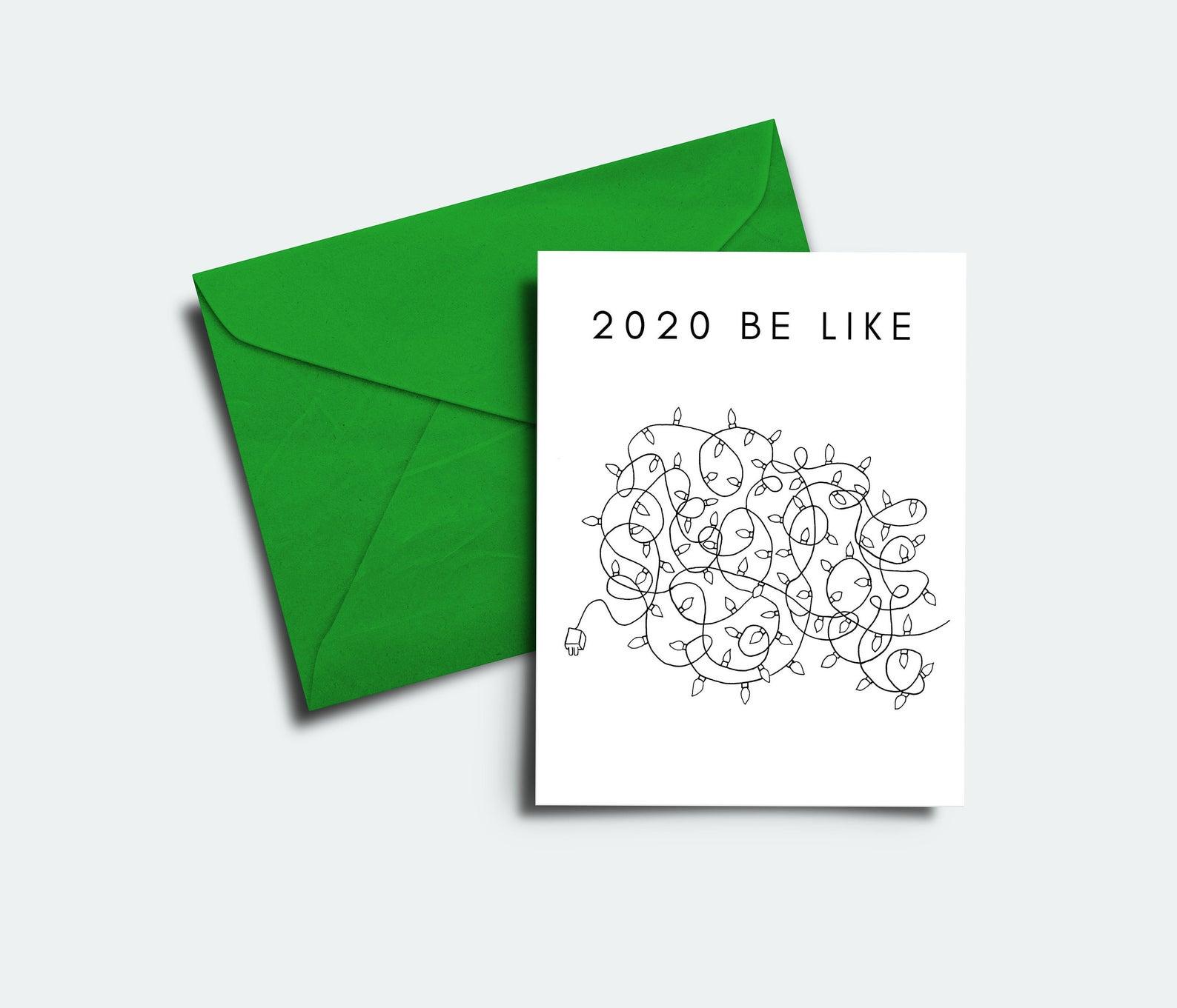 Funny Christmas cards for 2020: Christmas light tangle card | Meshuga