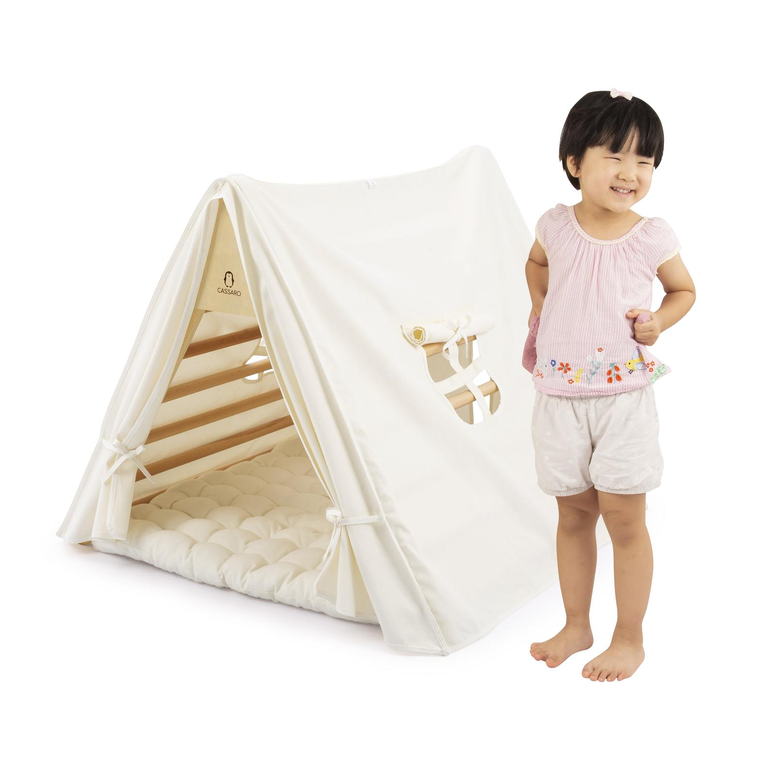 10 best baby and toddler holiday gifts from small businesses: Handmade climbing triangle with play tent attachment | Small Business Holiday Gift Guide 2020