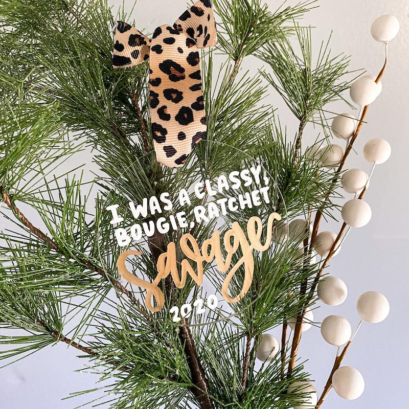Funny 2020 ornaments: Classy bougie ratchet savage ornament on Etsy.