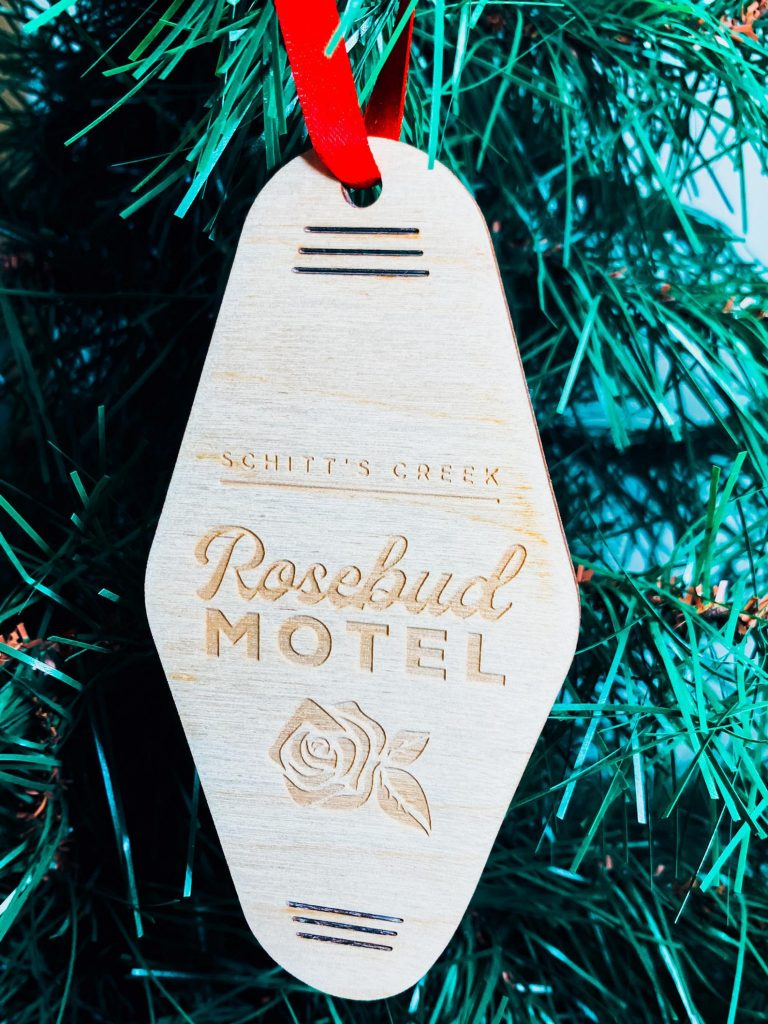 Funny 2020 ornaments: Rosebud Motel keychain ornaments from Schitt's Creek at LT Co Designs