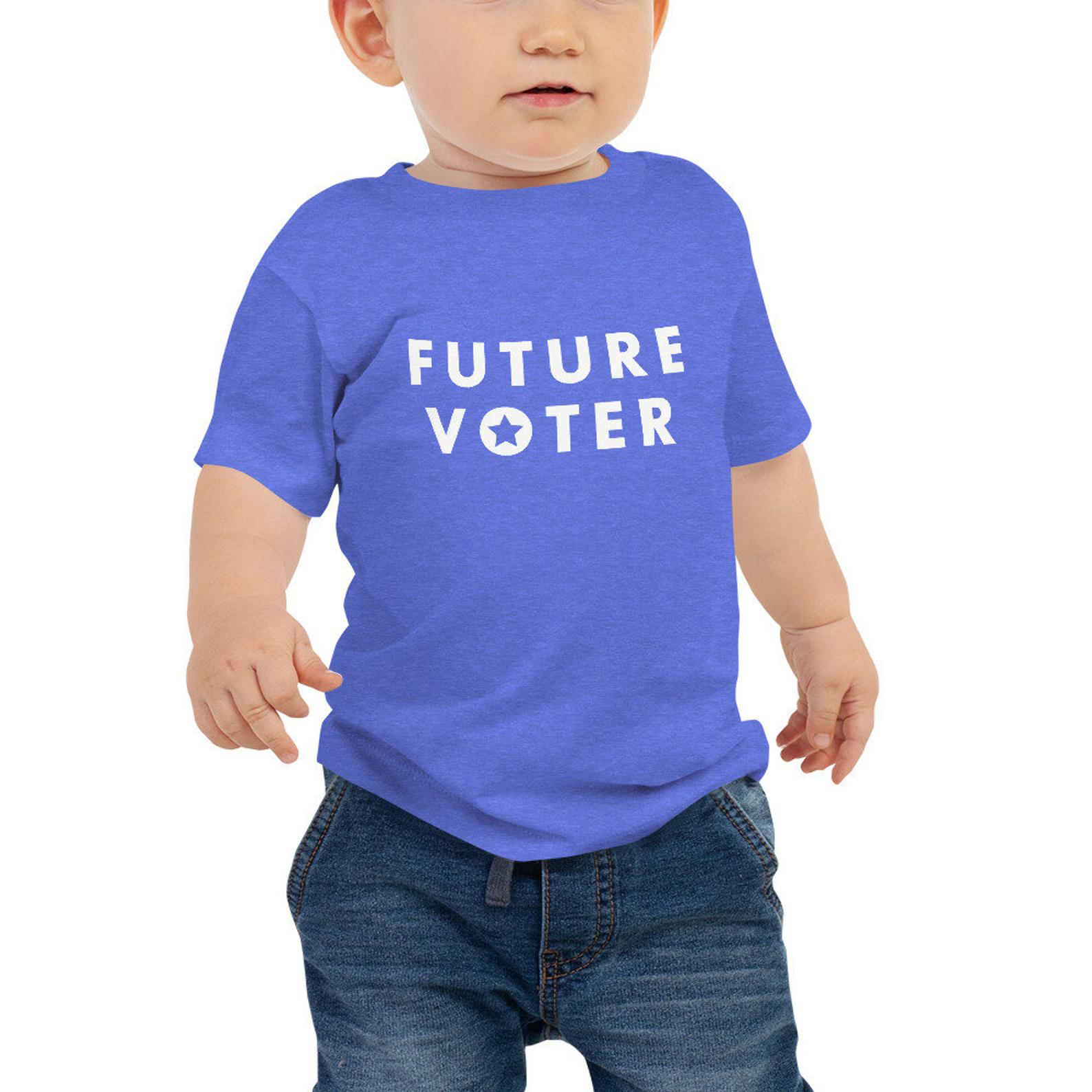 10 best baby and toddler holiday gifts from small businesses: Future Voter tee from Brave New World Designs | Small Business Holiday Gift Guide 2020