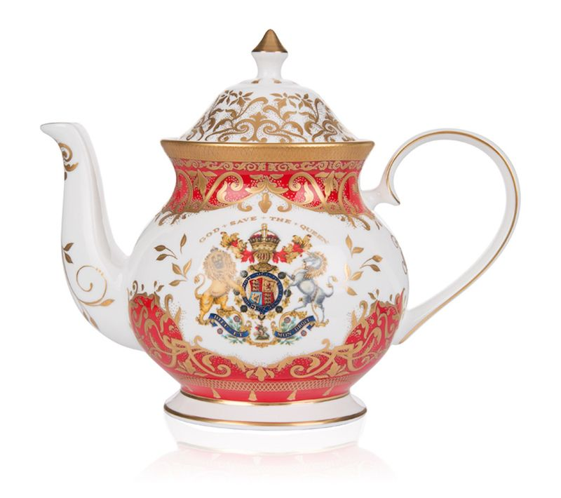 Gift ideas for The Crown fans: The official coronation tea pot commissioned by Buckingham Palace.