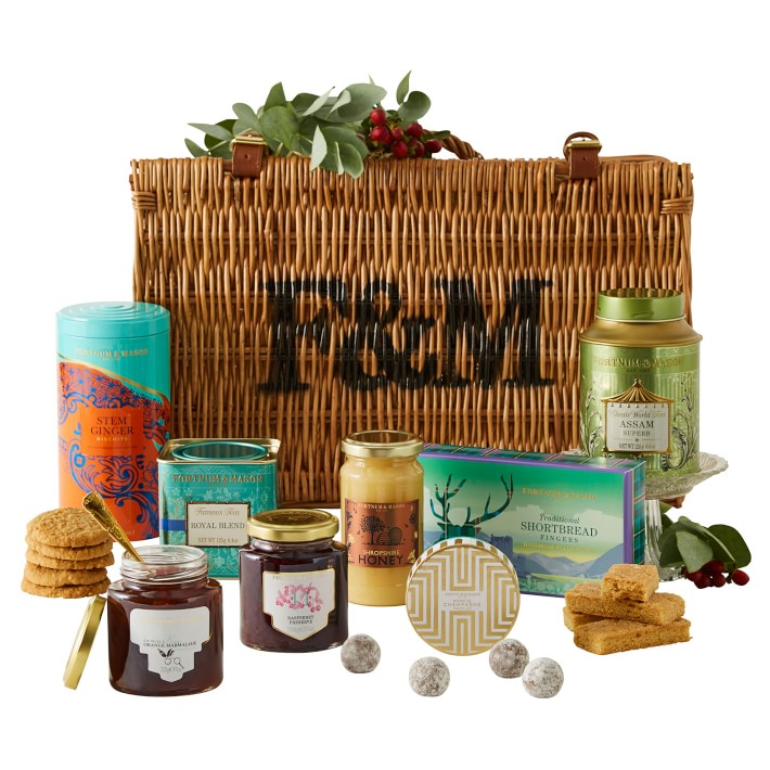 Gift ideas for The Crown fans: A picnic hamper full of British treats from Fortnum & Mason