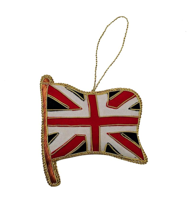Gift ideas for The Crown fans: A handmade Union Jack Christmas ornament from Shop Christmas on Etsy.