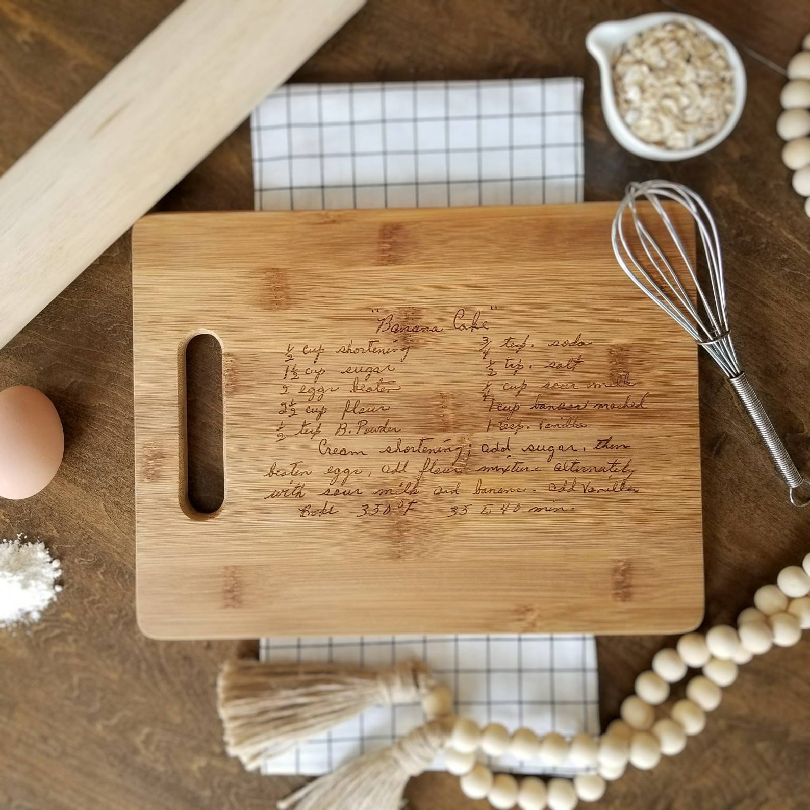 10 best gifts for grandparents from small businesses: A personalized cutting board with a family recipe