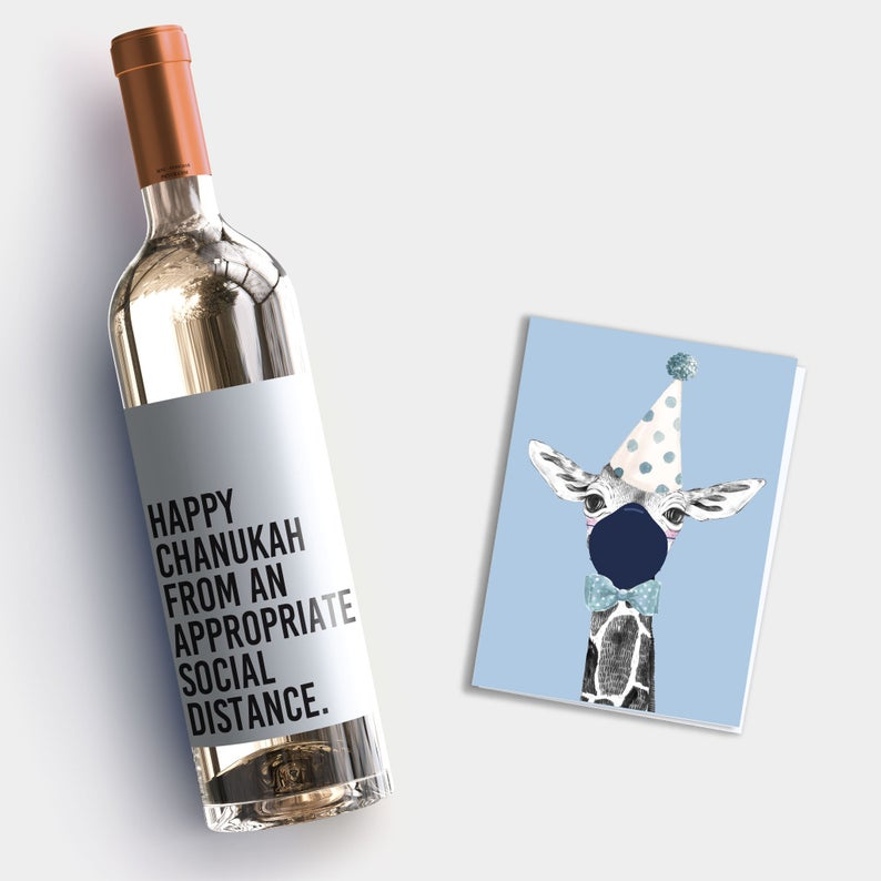 Best Hanukkah gifts from small businesses: Funny wine gift label for friends and neighbors