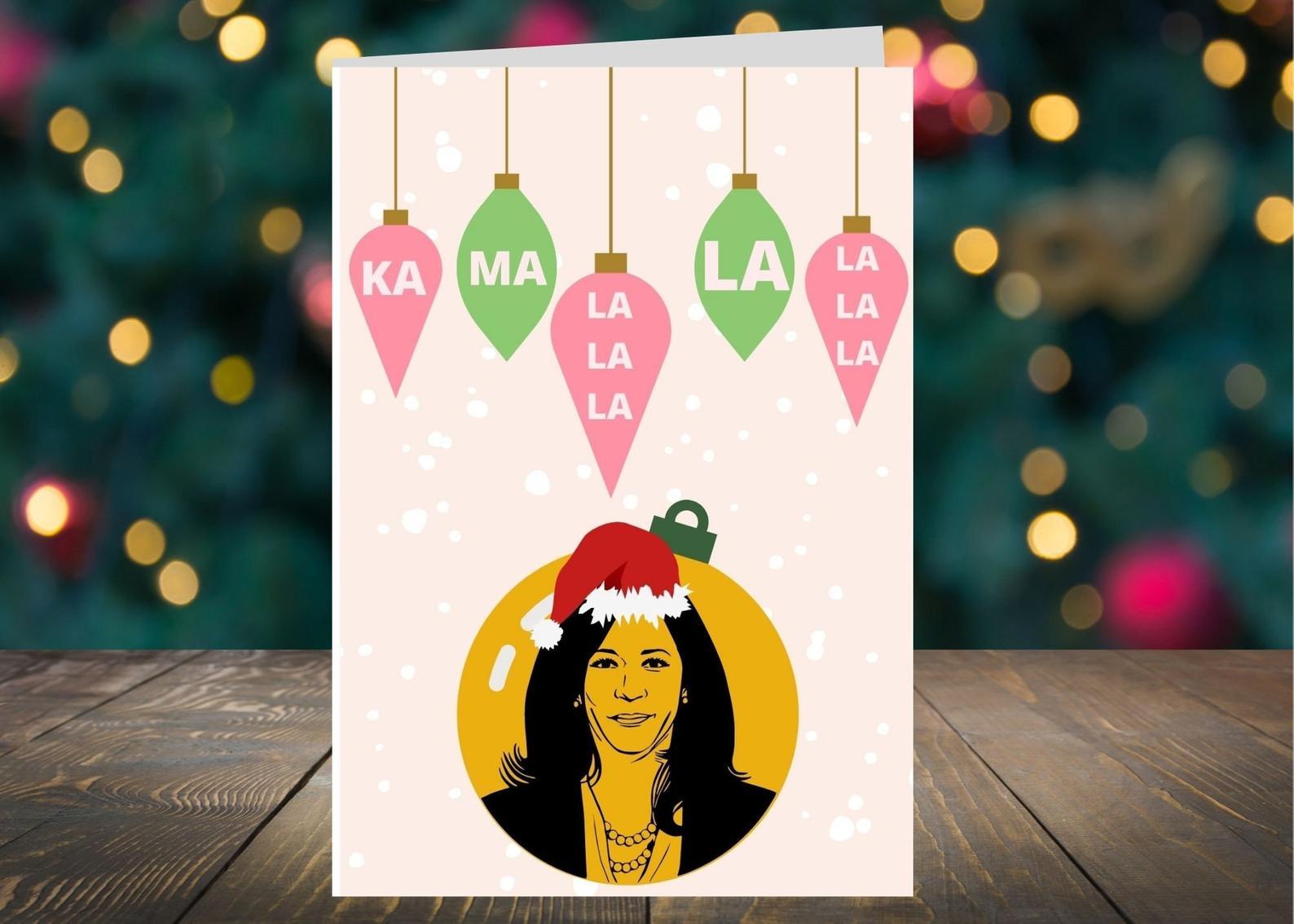 Funny Christmas cards for 2020: Kamala-la-la Christmas card | Glowwing Notes