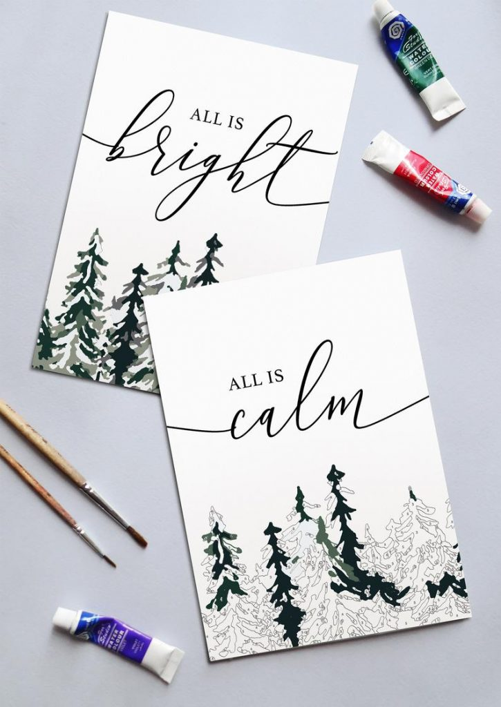 This Winter Woods Paint by Number kit is a nice holiday gift for someone who can't be with you | Cate Paper Co