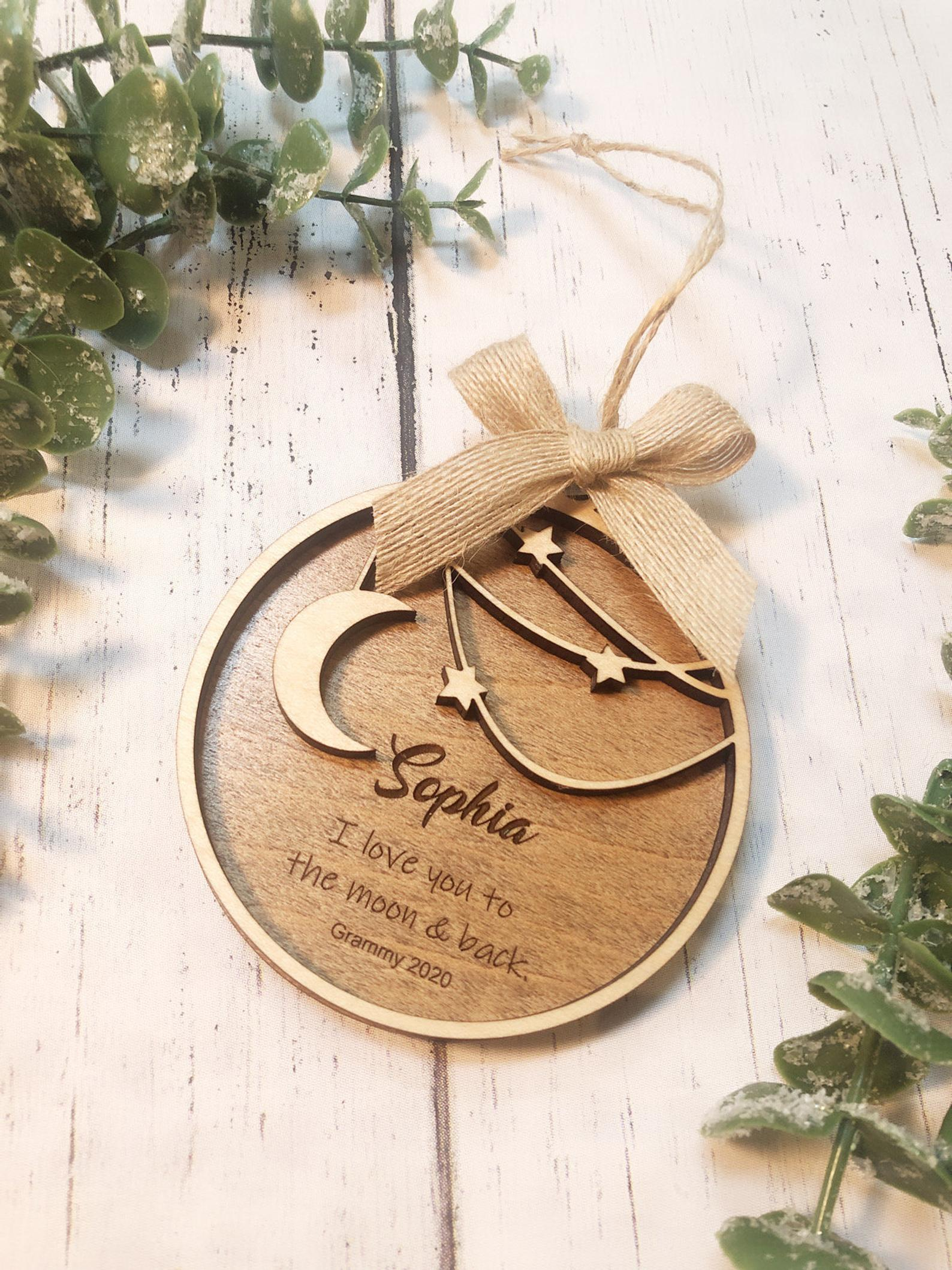 10 best baby and toddler holiday gifts from small businesses: Personalized moon and Stars ornament | Small Business Holiday Gift Guide 2020
