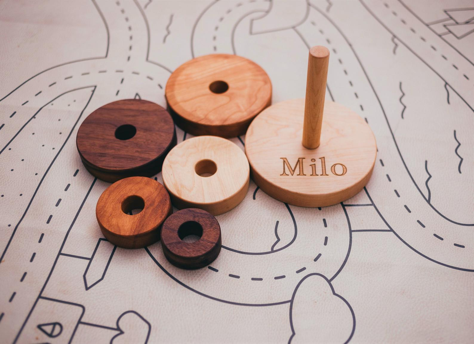 10 best baby and toddler holiday gifts from small businesses: personalized wooden ring stacker | Small Business Holiday Gift Guide 2020