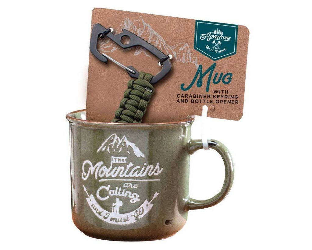 Adventure Is Out There mug and carabiner gift set: Gifts under $15