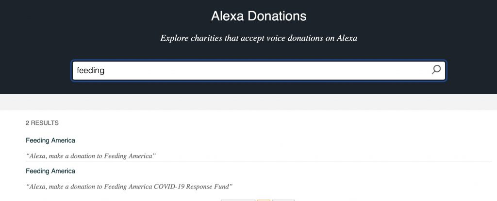 Donate to nearly 400 organizations through Alexa