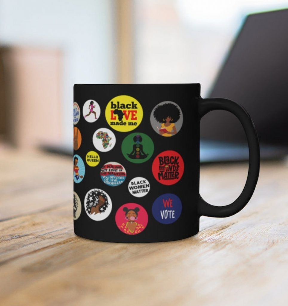 Political gifts for women: Black girl magic mug from The Trini Gee