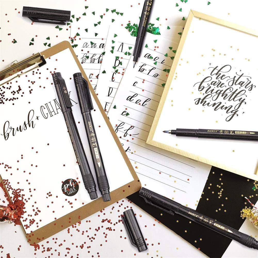 6-piece calligraphy pen/brush marker set : Gifts under $15