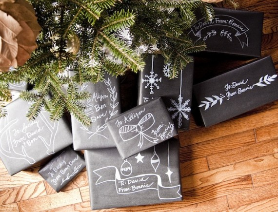 DIY chalkboard inspired gift wrap instructions from Bonnie Christine: How to make all gifts feel more homemade