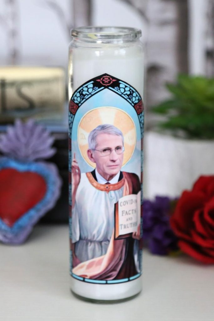 Cool gifts under $15: Anthony Fauci Prayer candle: the patron saint of staying home