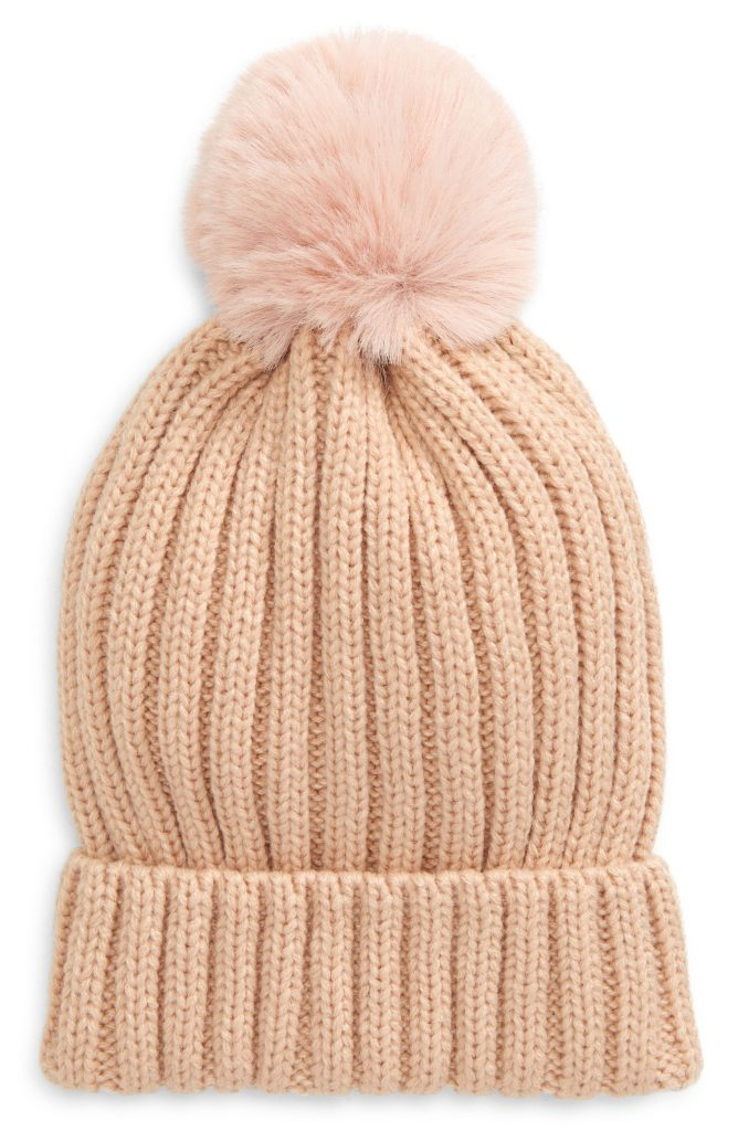 50+ cool gifts under $15 for men and women: Faux fur pom beanie in multiple colors