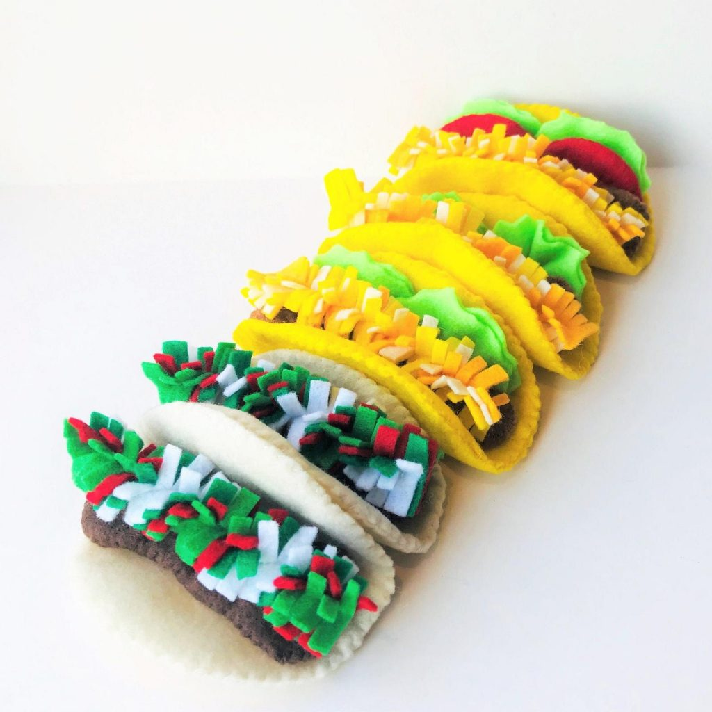 Cool gifts for kids under $15: Felt food taco play set from Felt Food Truck on Etsy