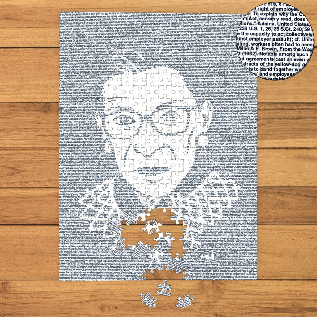 Political gifts for women: Puzzle made up of all the RBG dissents, Litographs