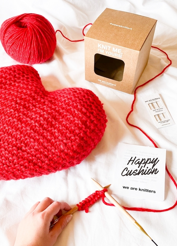 Crafty friends will love We Are Knitters heart Valentine's Day gift for friends