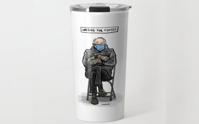 The Bernie Mittens meme, now coming to a coffee mug near you. (For charity.)