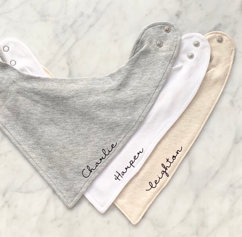 Best baby gifts under $10: Personalized name baby bib from My Little Squash