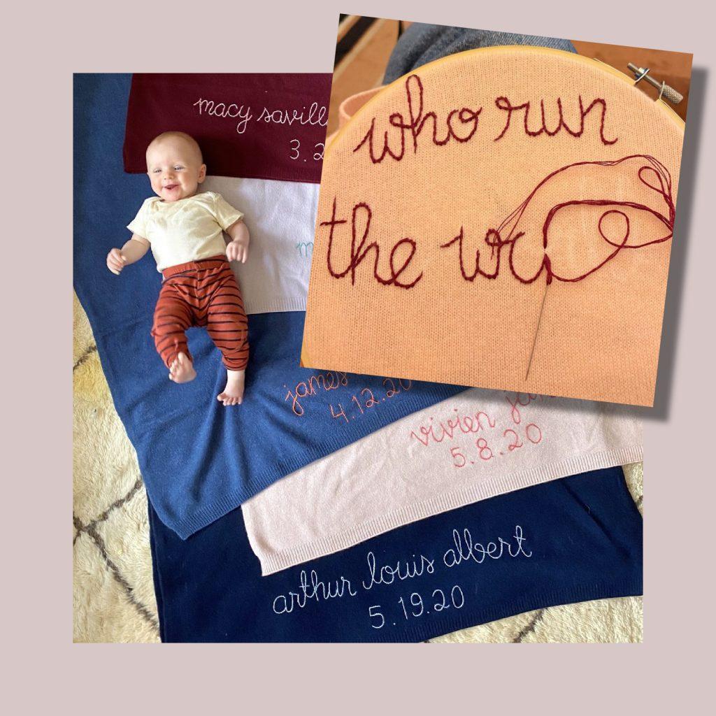 Feminist baby gifts: Custom cashmere keepsake baby blanket from woman-run shop Lingua Franka