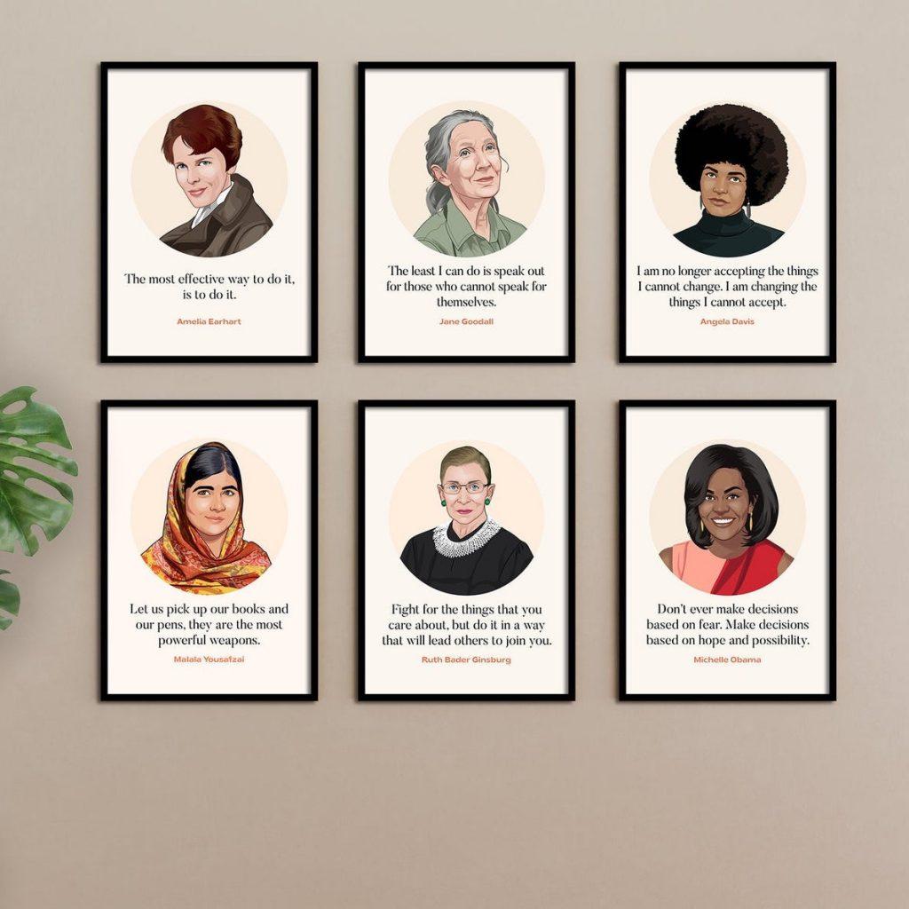 Best feminist baby gifts: Historic women artwork set