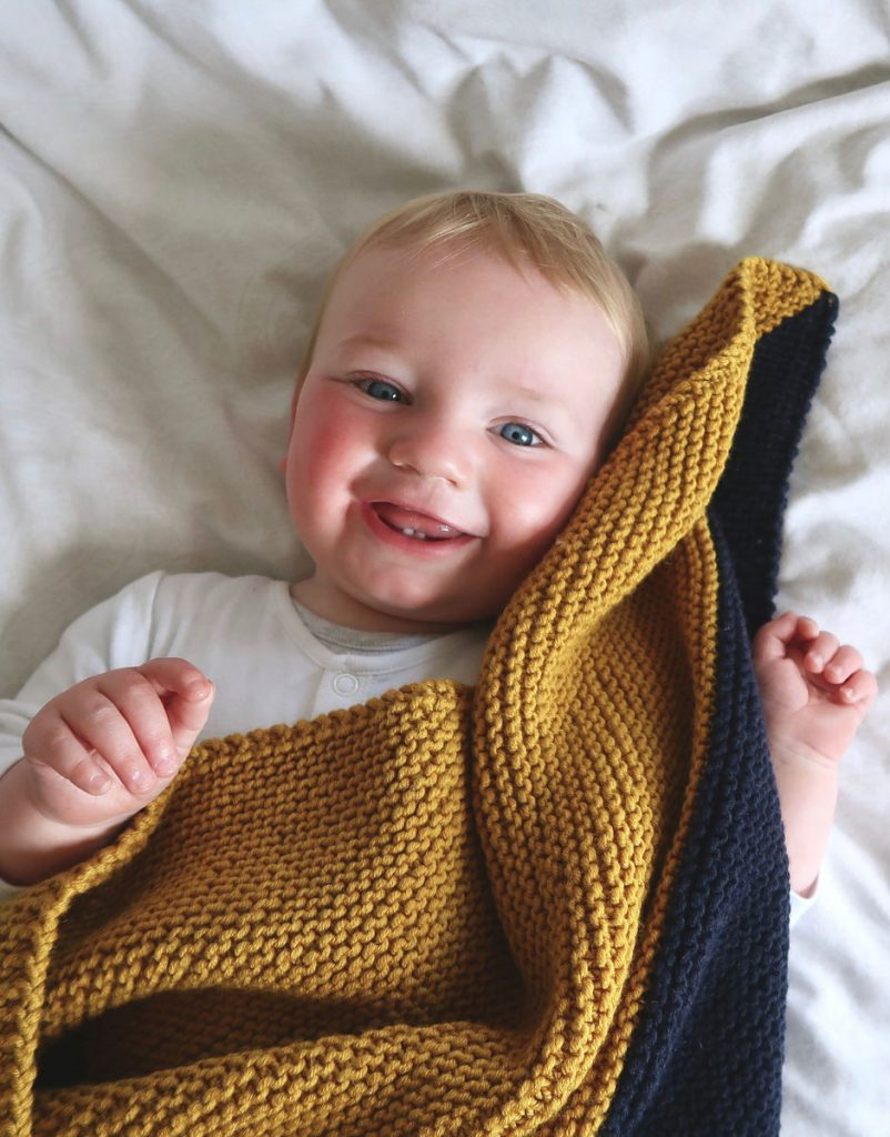 Handmade baby gift ideas: A knit blanket is even easier when you order a complete kit from Wool & The Gang