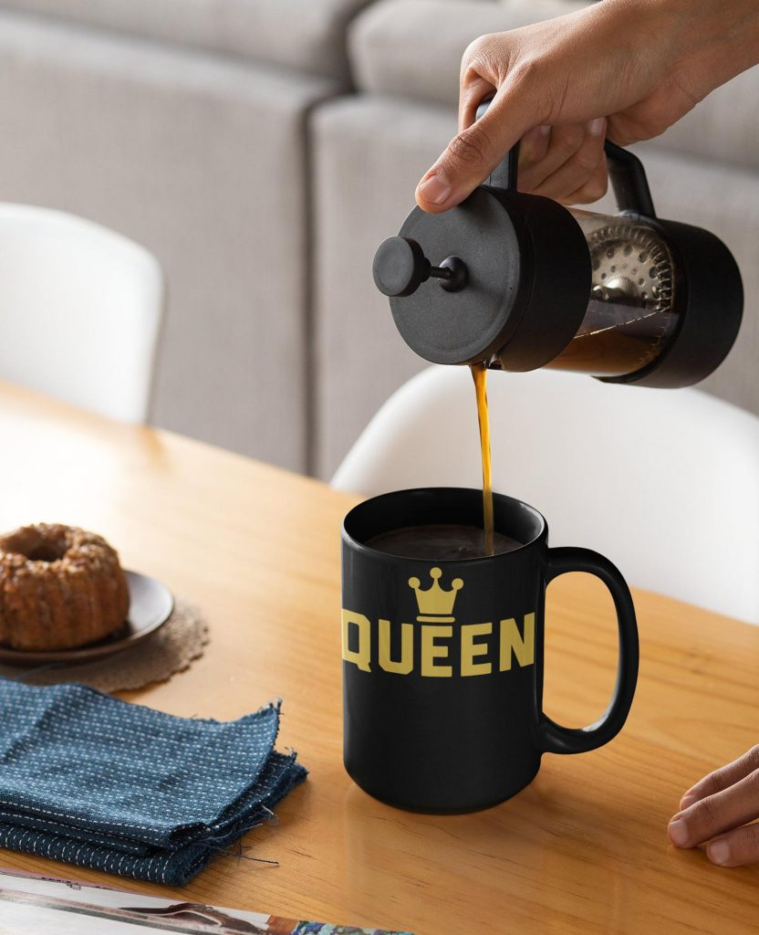 Practical baby gifts: A DIY coffee gift box including this Black Queen coffee mug from Black Mugs N Stuff