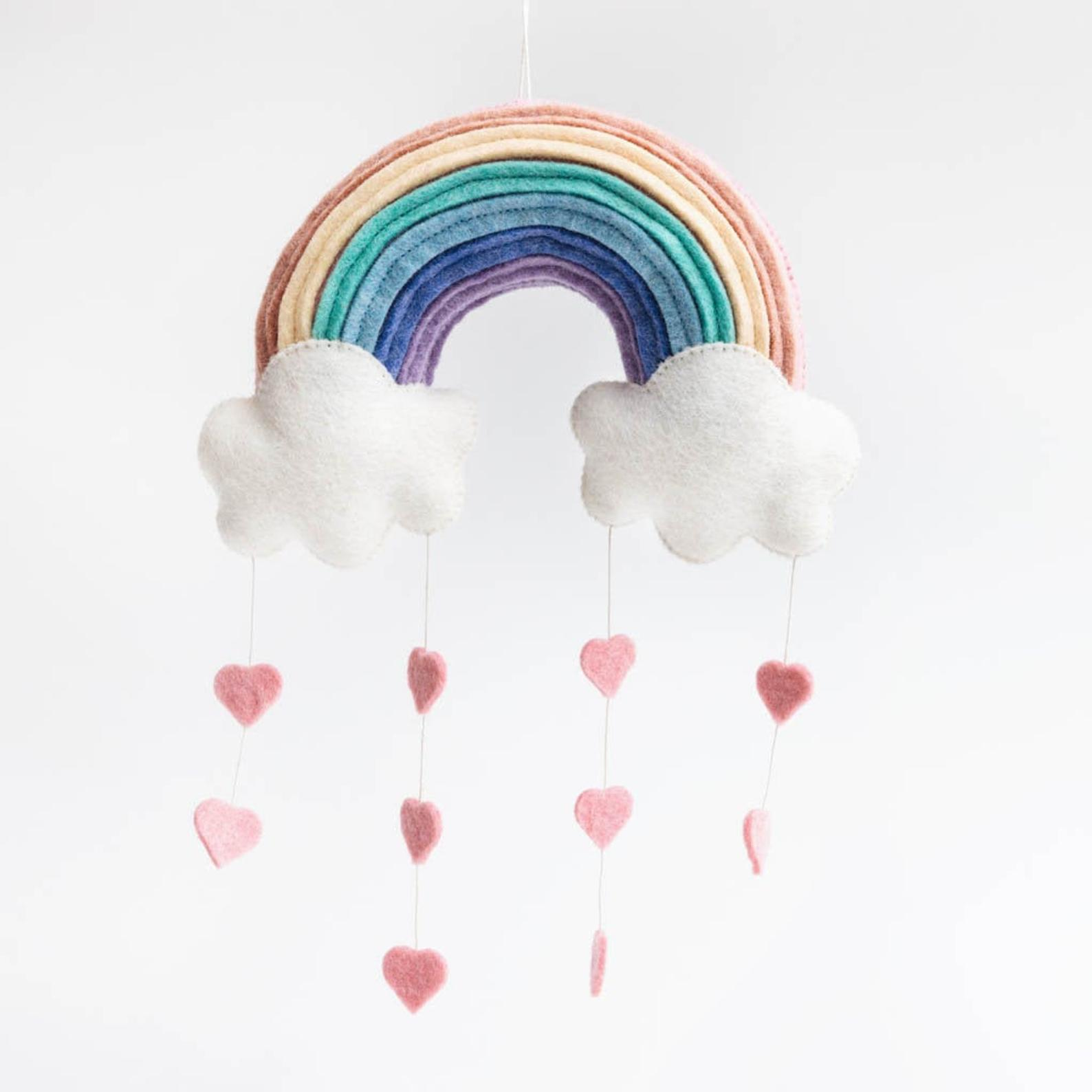 Valentine's Day gifts for babies: Hearts + rainbows mobile at Craftspring