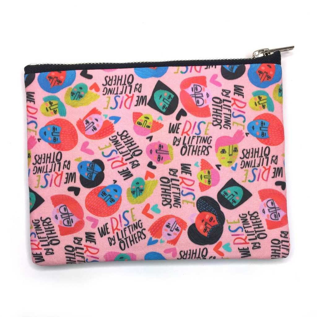 """Feminist baby gifts: """"We rise by lifting others"""" zipper pouch"""