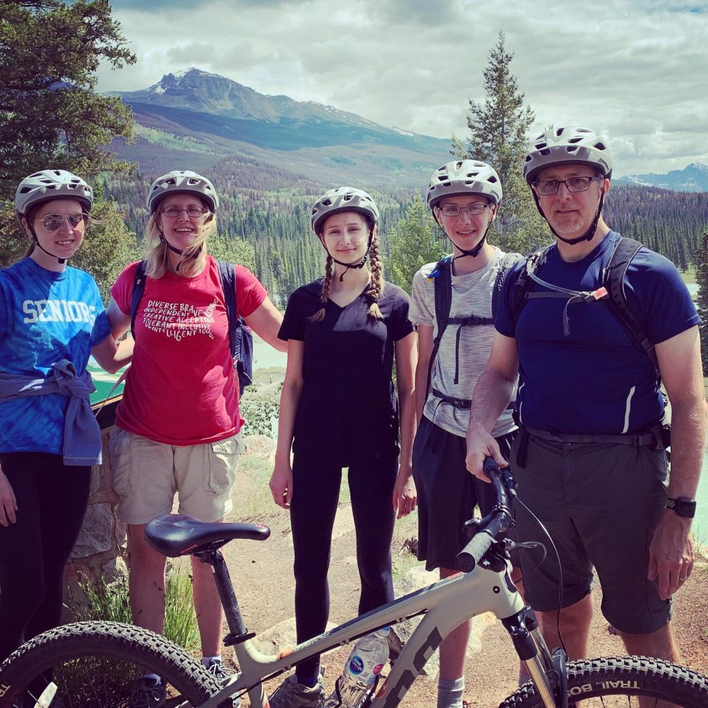 Bike safety being practiced as my family rides in Jasper National Park